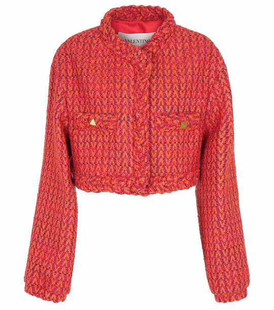 Valentino Optical V wool-blend tweed jacket in orange