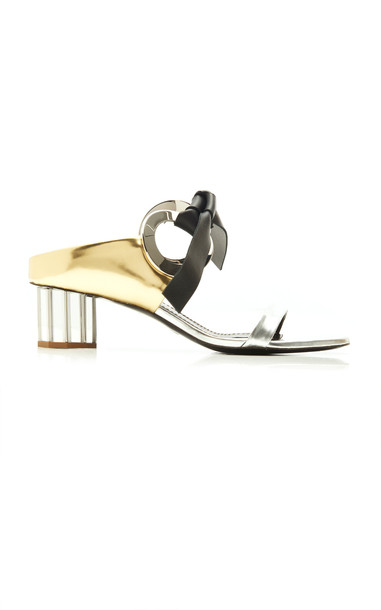 Proenza Schouler Metallic Multi-Tone Leather Sandals Size: 35 in silver