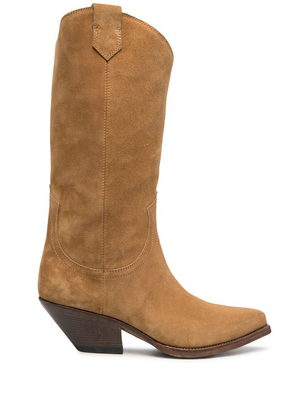 Buttero Elise suede cowboy boots in brown