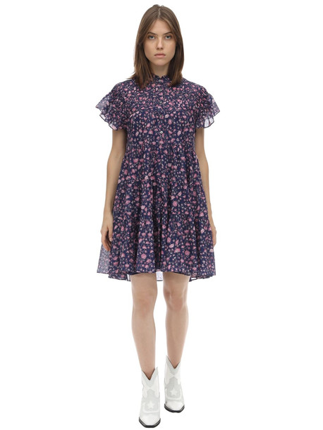 ISABEL MARANT ÉTOILE Lanikaie Cotton Mini Dress in blue / pink