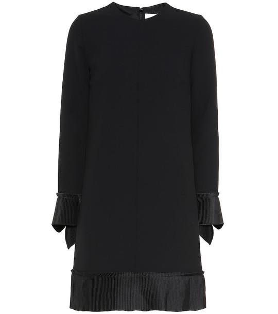 Victoria Victoria Beckham Long-sleeved crêpe minidress in black