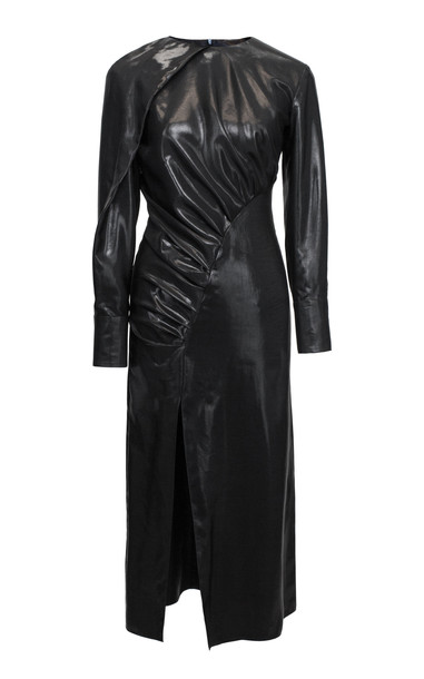 Lake Studio Ruched Lacquered Crepe Midi Dress in black