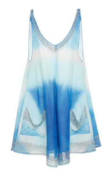 Juliet Dunn Tie Dye Low Back Cotton Swing Dress in blue