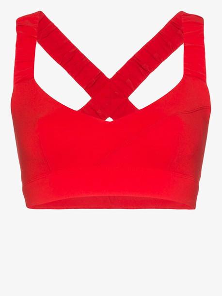 No Ka' Oi Red Kindly ruffled trim sports bra