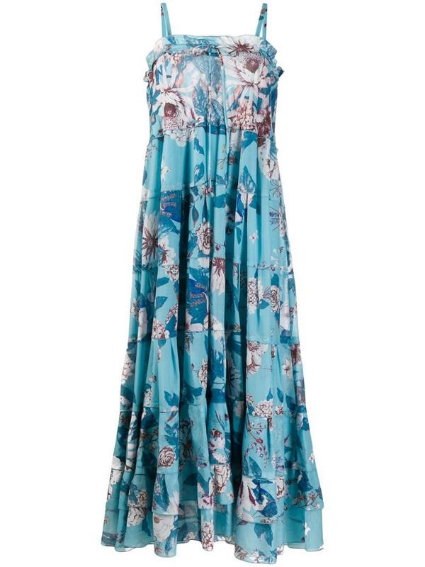 DVF Diane von Furstenberg tiered floral print dress in blue