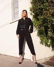 jumpsuit,black jumpsuit,clear,ankle boots,belt bag,revolve clothing