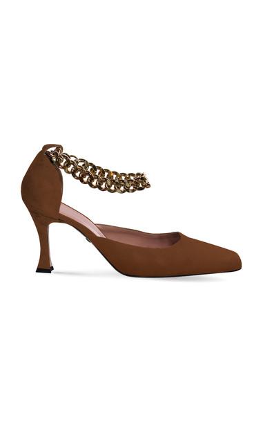 Ilio Smeraldo Bettina Chain Suede Pumps in brown