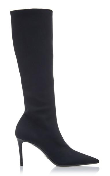 Prada Suede Knee-High Boots in black