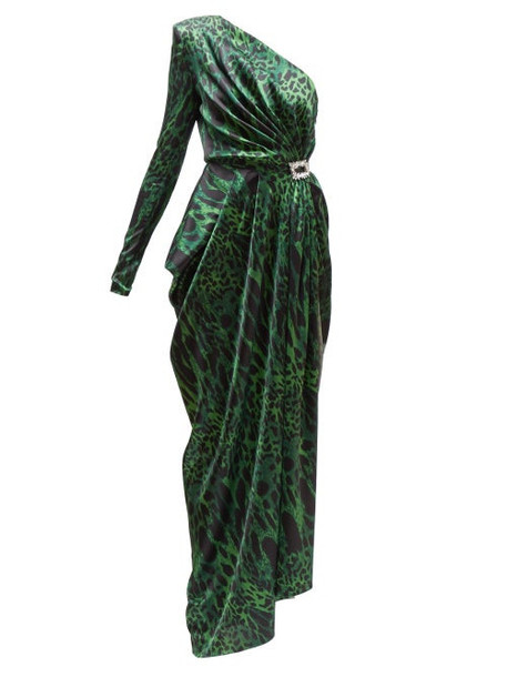 Alexandre Vauthier - One Shoulder Lynx Print Satin Gown - Womens - Green Print