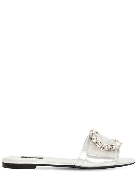 DOLCE & GABBANA 10mm Bianca Embellished Nappa Lamé Flats in silver