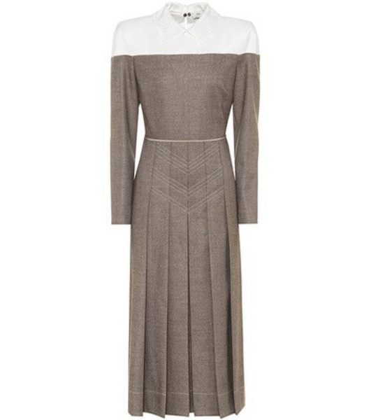 Fendi Wool-blend midi dress in brown