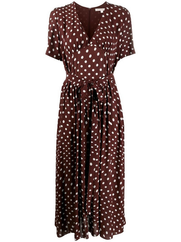Alexa Chung V-neck polka dot print dress in brown