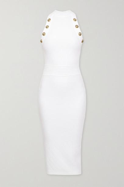 Balmain - Button-embellished Pointelle-knit Midi Dress - White