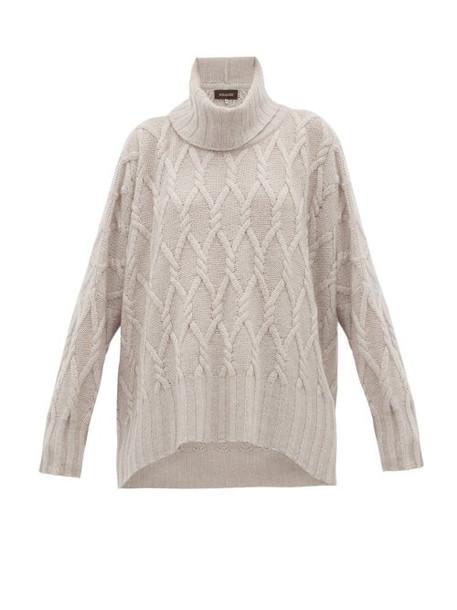 Eskandar - Roll Neck Cable Knit Cashmere Sweater - Womens - Light Grey