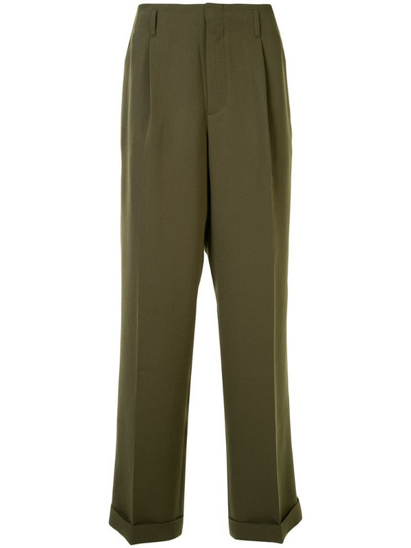Ports V pleated waist tailored trousers in green