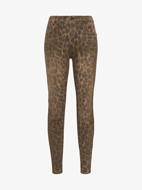 R13 high-waisted leopard print skinny jeans