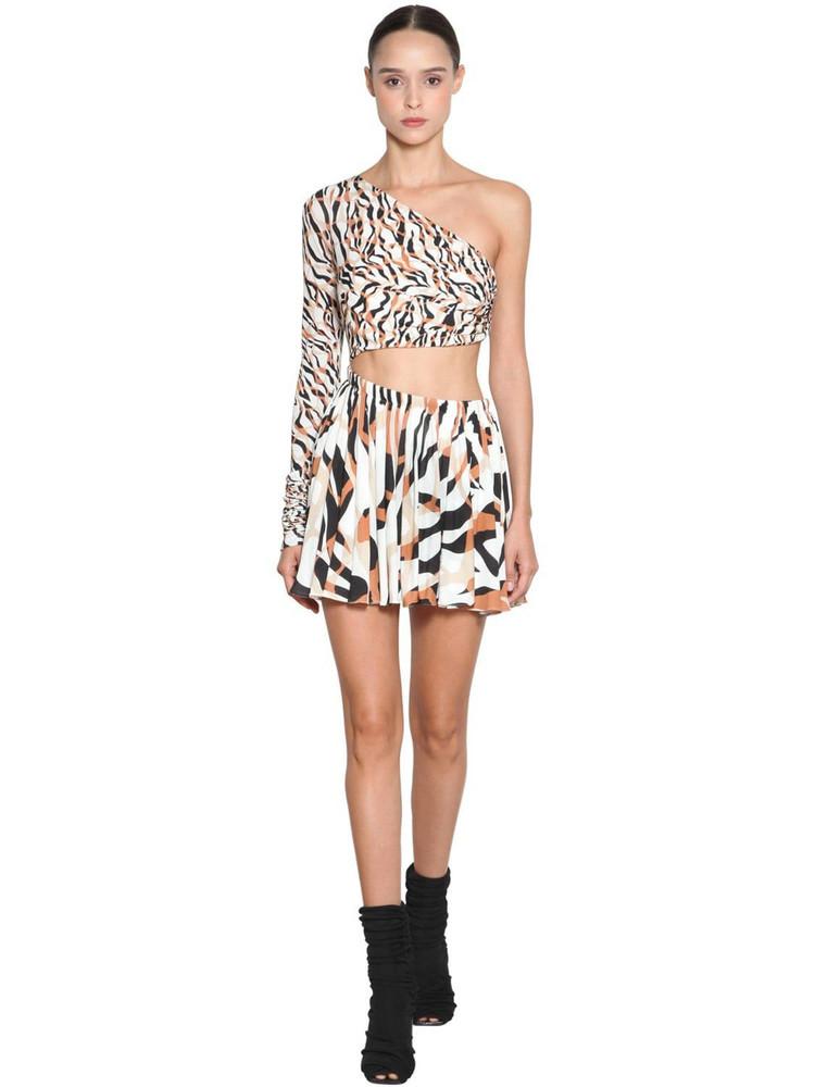 ROBERTO CAVALLI Cut One Shoulder Light Jersey Mini Dress