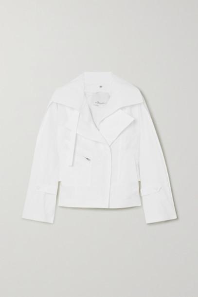 3.1 Phillip Lim - Belted Cotton-blend Poplin Biker Jacket - White