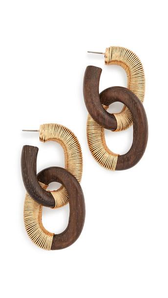 Oscar de la Renta Thread Link Earrings in brown