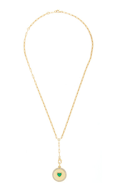 Jemma Wynne 18K Yellow Prive Necklace with Emerald Heart Medallion in green