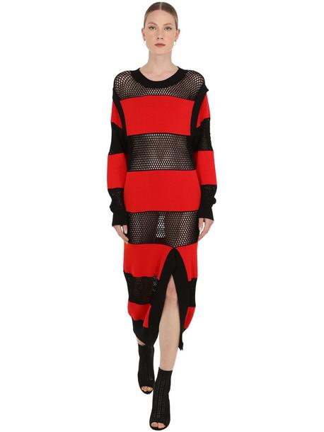 SONIA RYKIEL Striped Mesh & Cotton Knit Dress in black / red