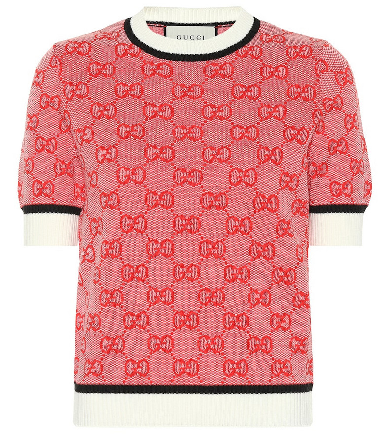 Gucci GG knitted wool and cotton top in red