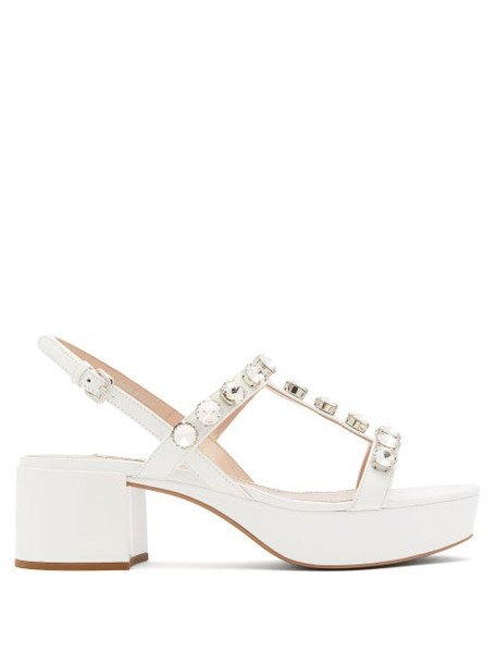 Miu Miu - Crystal-embellished Patent-leather Sandals - Womens - White