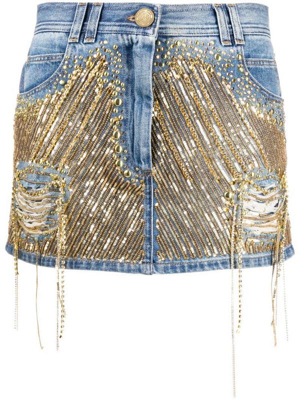 Balmain sequinned denim skirt in blue