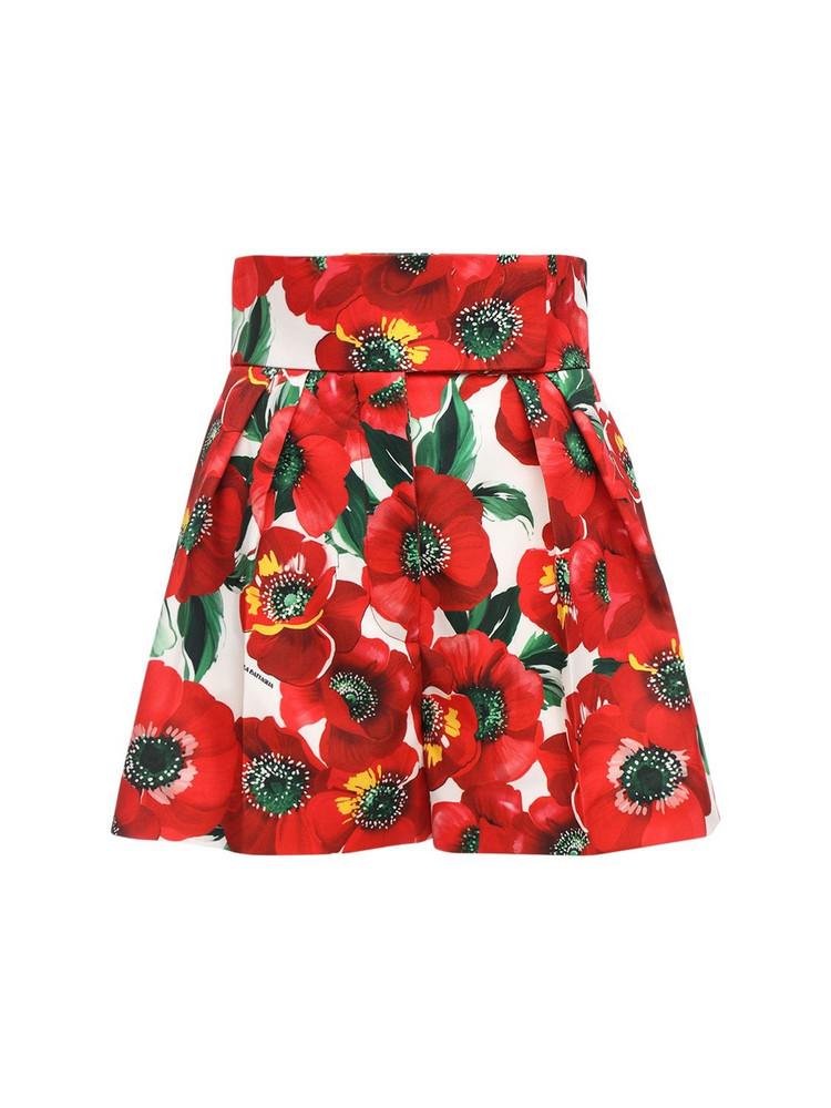 SARA BATTAGLIA Printed Cady Shorts in red