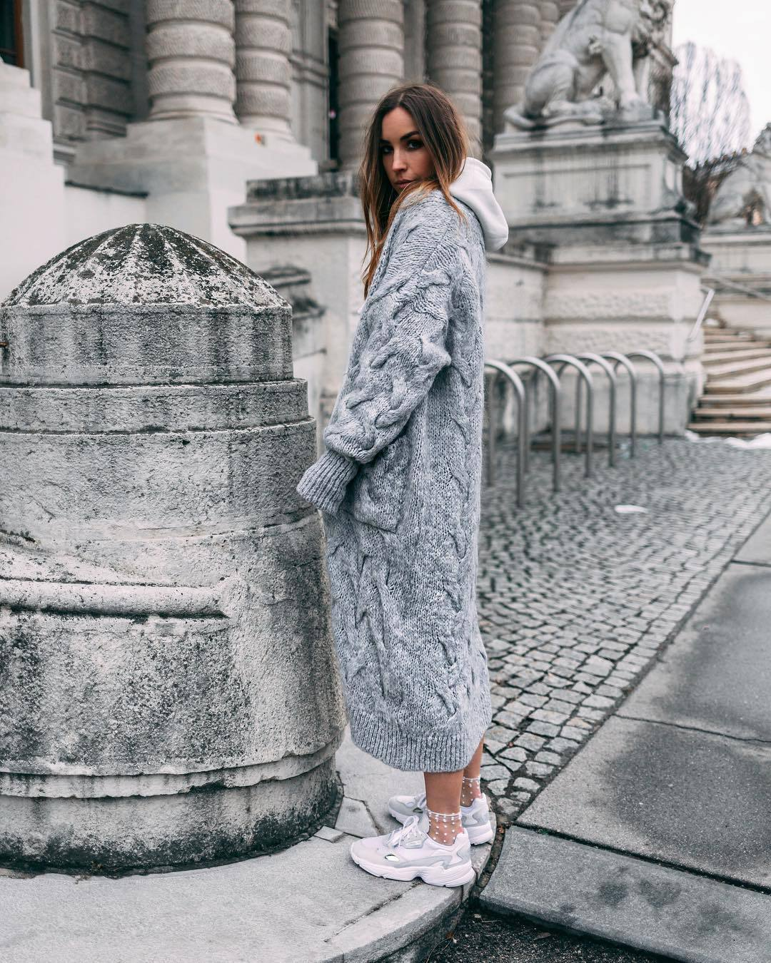 sweater grey cardigan long cardigan cable knit oversized cardigan white sneakers socks white hoodie casual shoes adidas