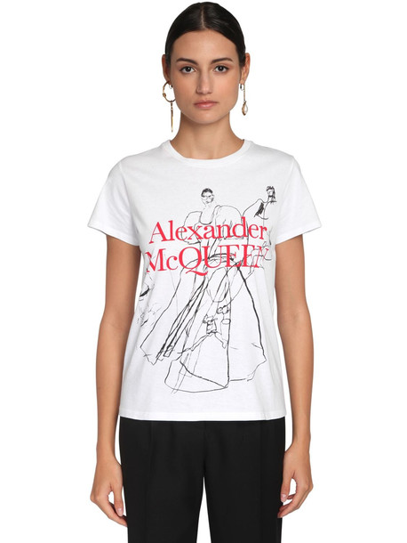 ALEXANDER MCQUEEN Logo Print Cotton Jersey Slim T-shirt in white / multi