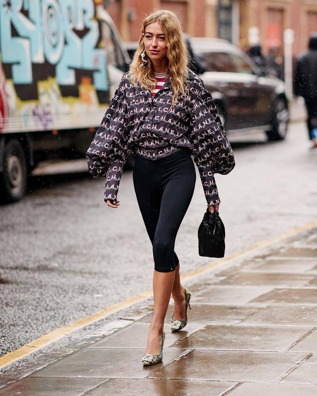 top blouse chanel pumps black shorts black bag striped top