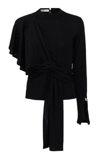Amal Al Mulla Black Stretch Rib Knitted Shawl Top With Prehnite Stone