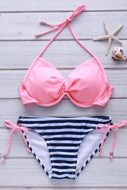 swimwear pink fashion stripes summer beach girly cute gamiss