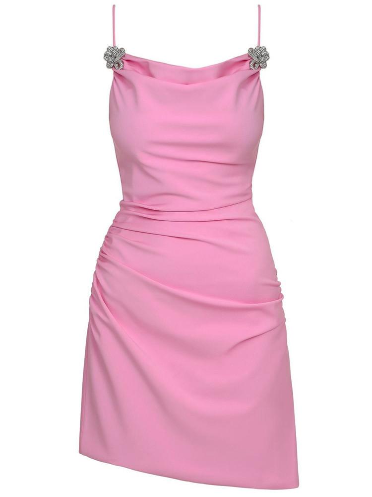 MACH & MACH Stretch Jersey Mini Dress in pink