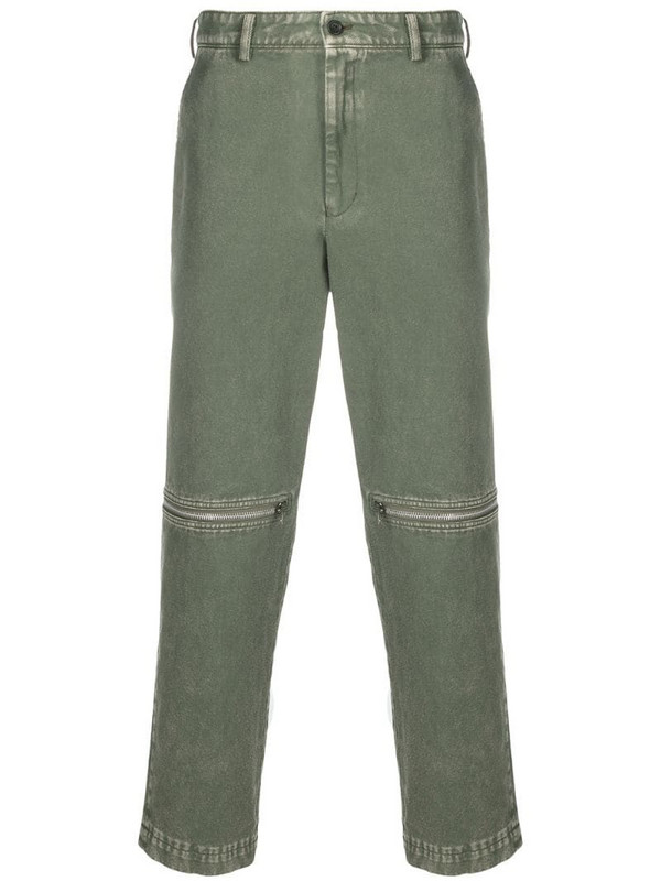 Black Comme Des Garçons zip-detail jeans in green