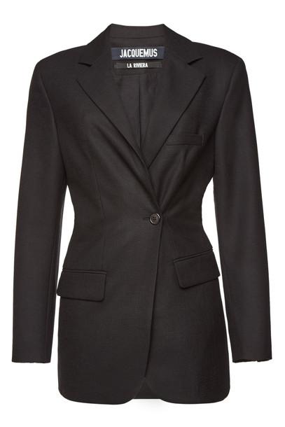Jacquemus La Veste De Costume Asymmetric Wool Blazer  in black