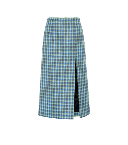 Balenciaga Checked wool pencil skirt in blue