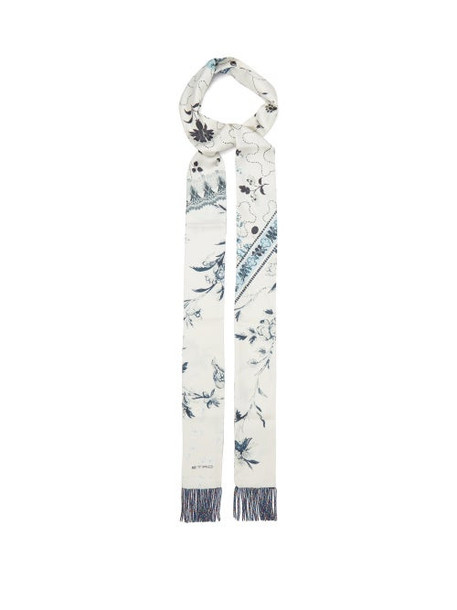 Etro - Bead-fringed Floral-print Silk-faille Scarf - Womens - White Multi