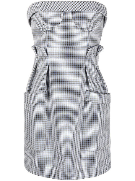 Philosophy Di Lorenzo Serafini check-pattern strapless mini dress in blue