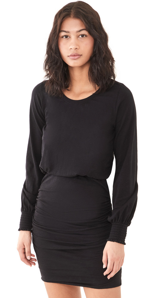SUNDRY Ruched Dress in black