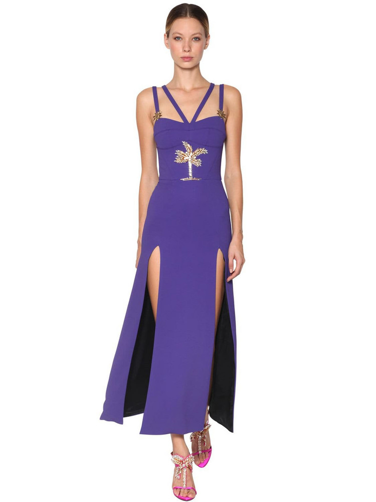 FAUSTO PUGLISI Embellished Cady Long Dress in purple