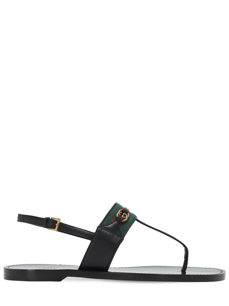 GUCCI 10mm Siryo Leather Thong Sandals in black