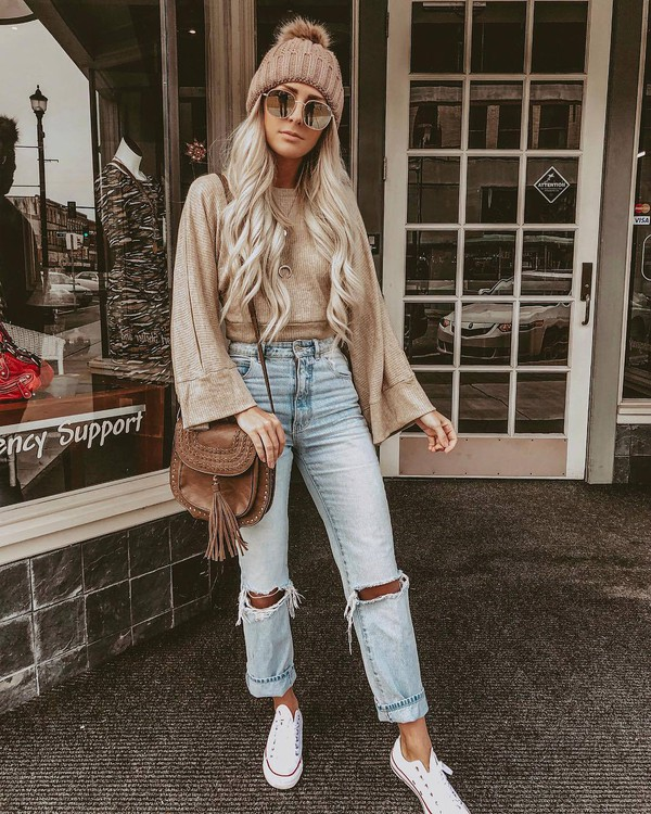 top converse straight jeans ripped jeans brown bag crossbody bag sunglasses beanie