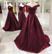 dress,red,burgundy,prom dress,off the shoulder,ball gown dress