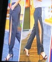 pants,black,black pants,slit