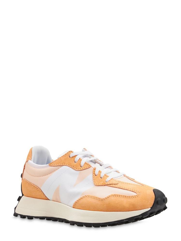 NEW BALANCE 327 Suede & Mesh Sneakers in orange