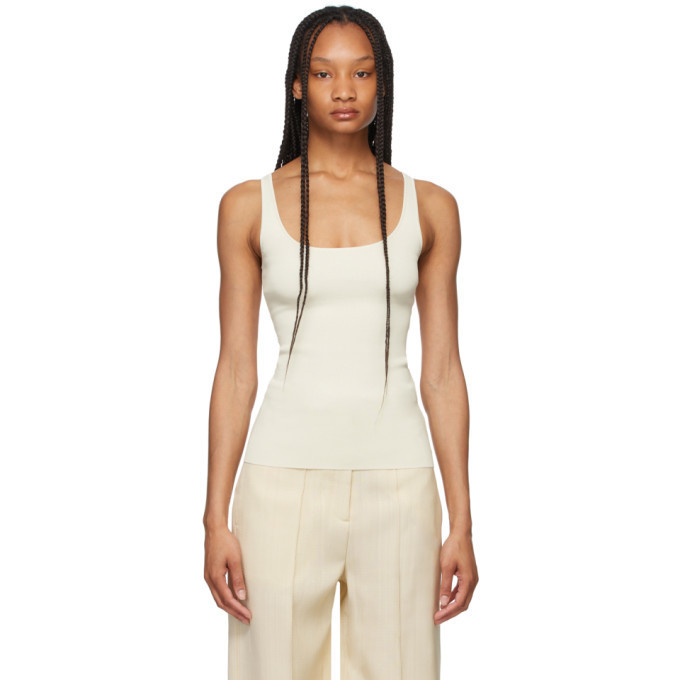 Toteme Off-White Compact Knit Tank Top in ivory