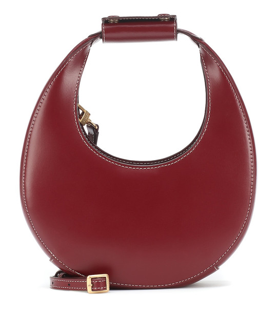 Staud Moon Mini leather shoulder bag in red