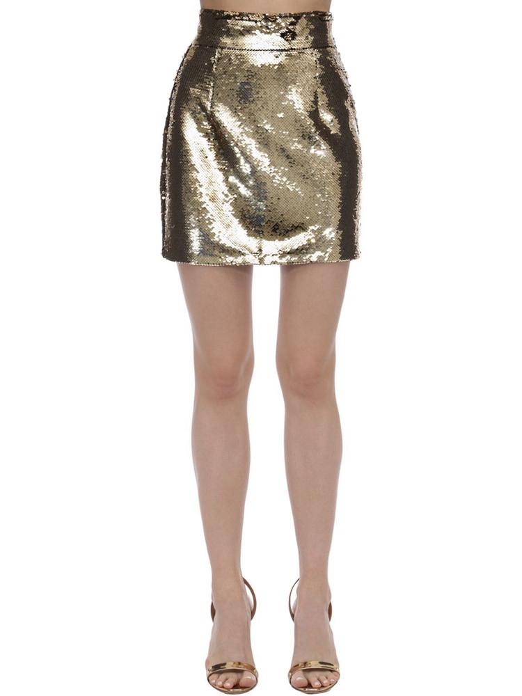 AMEN Sequined Mini Skirt in gold